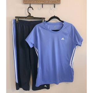 Adidas Workout Set, Capris & Tee, Size M/L